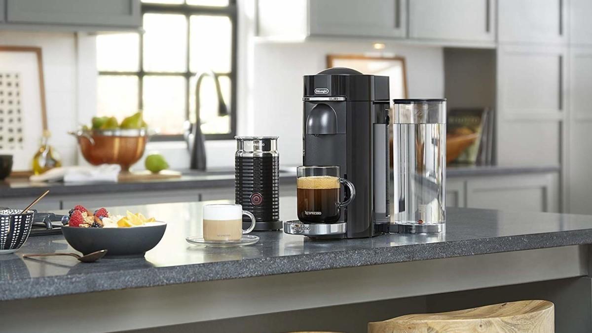 Breville Nespresso VertuoPlus Deluxe capsule coffee maker in use