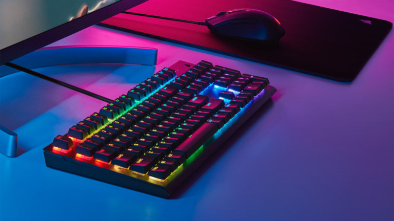 CORSAIR K60 RGB PRO mechanical gaming keyboard possesses a slim and durable design