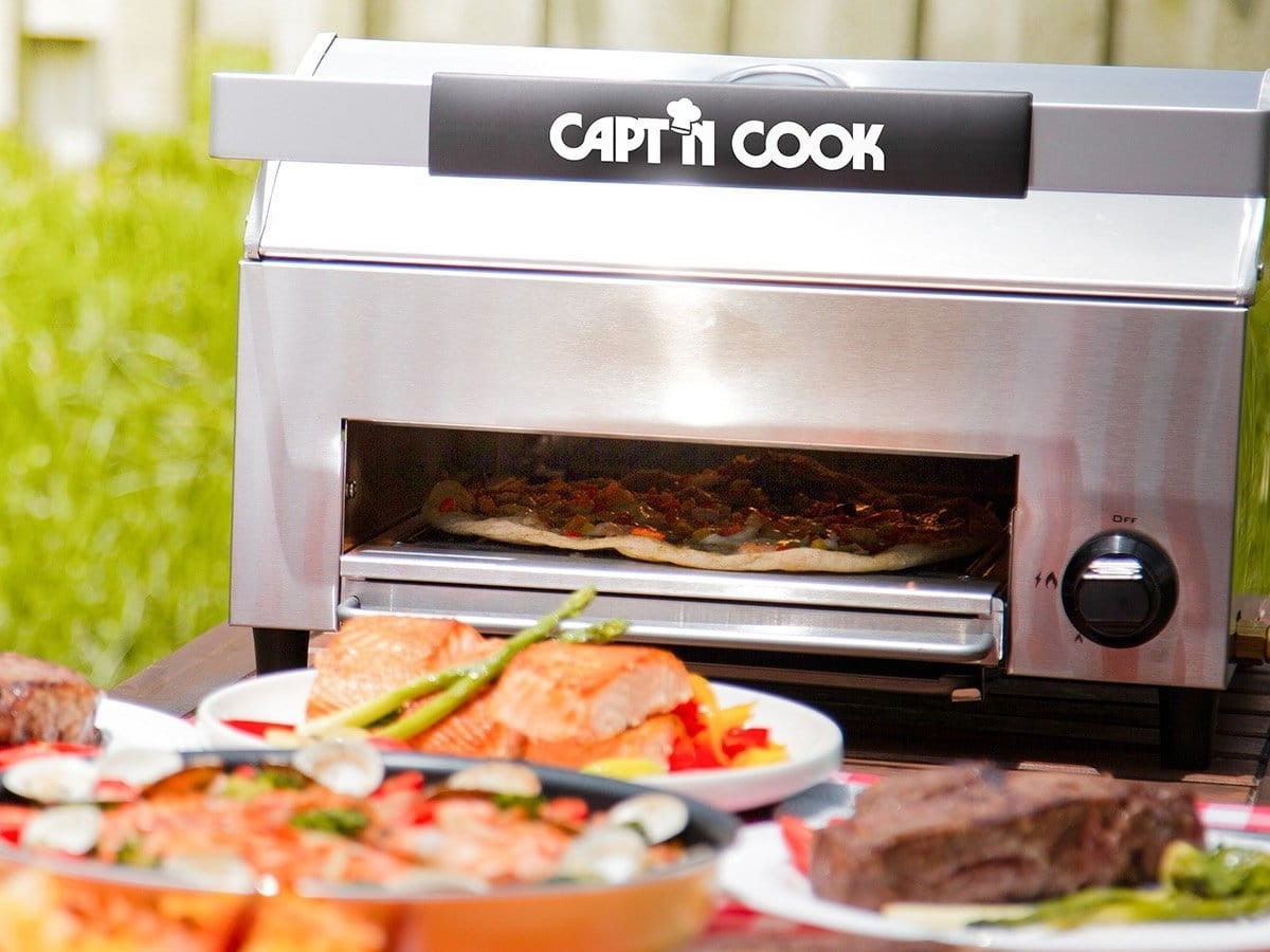 Capt'n Cook OvenPlus Salamander All-in-One Grill is a pizza oven and smokeless grill
