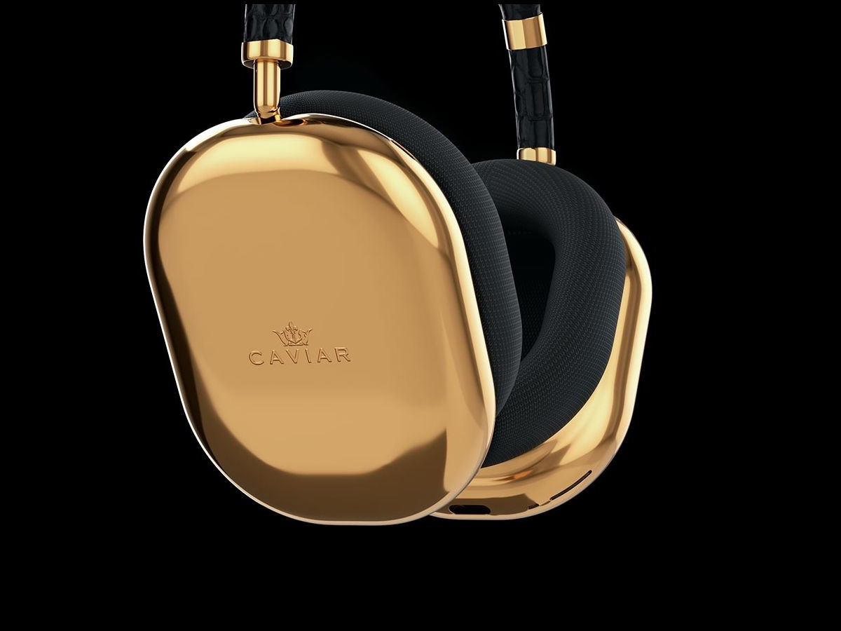 Caviar AirPods Max Gold Black features earcups made from 750 grams of pure gold