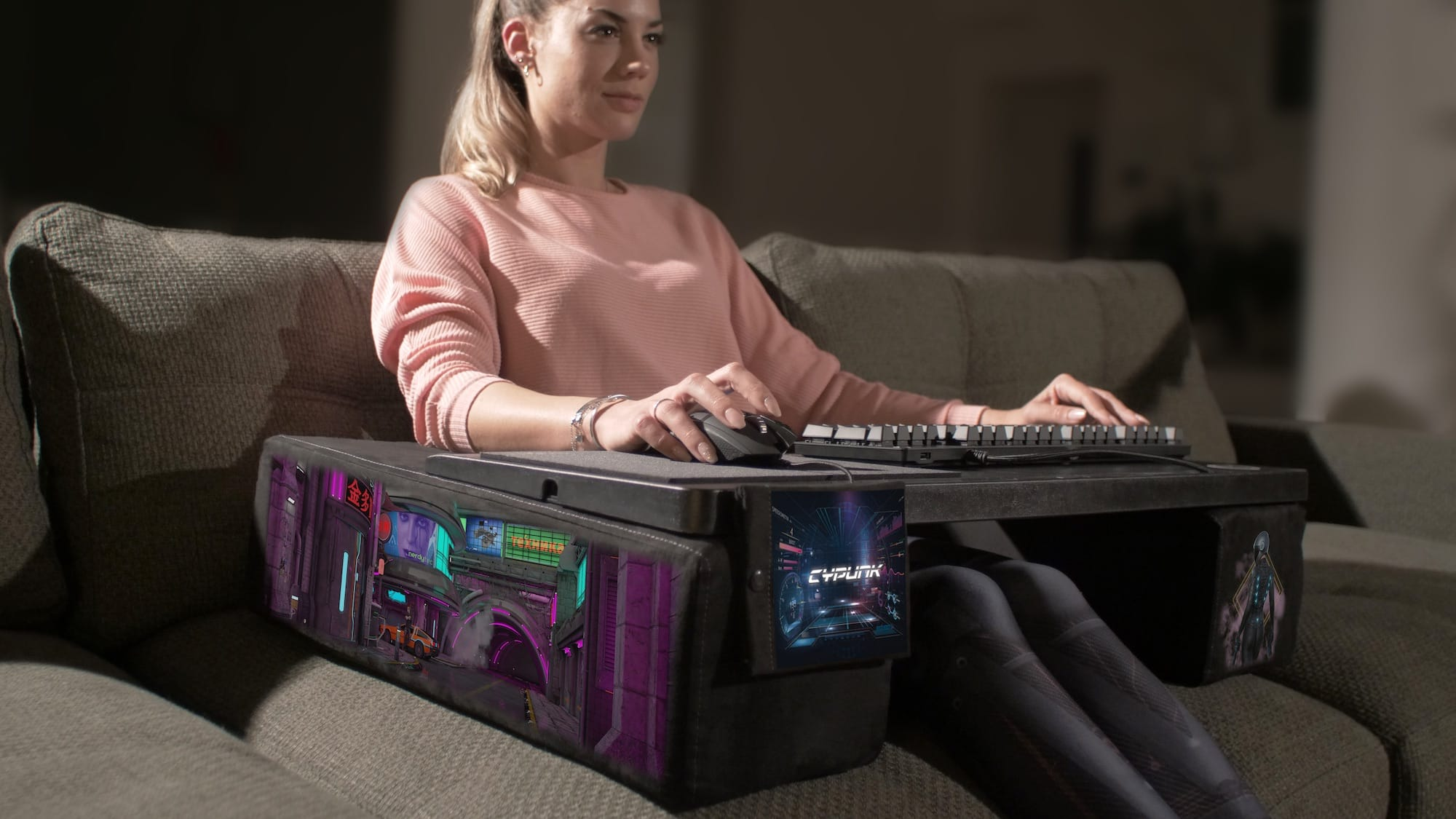 Couchmaster CYPUNK Limited Edition cyberpunk couch desk has 80s colors and the DeLorean