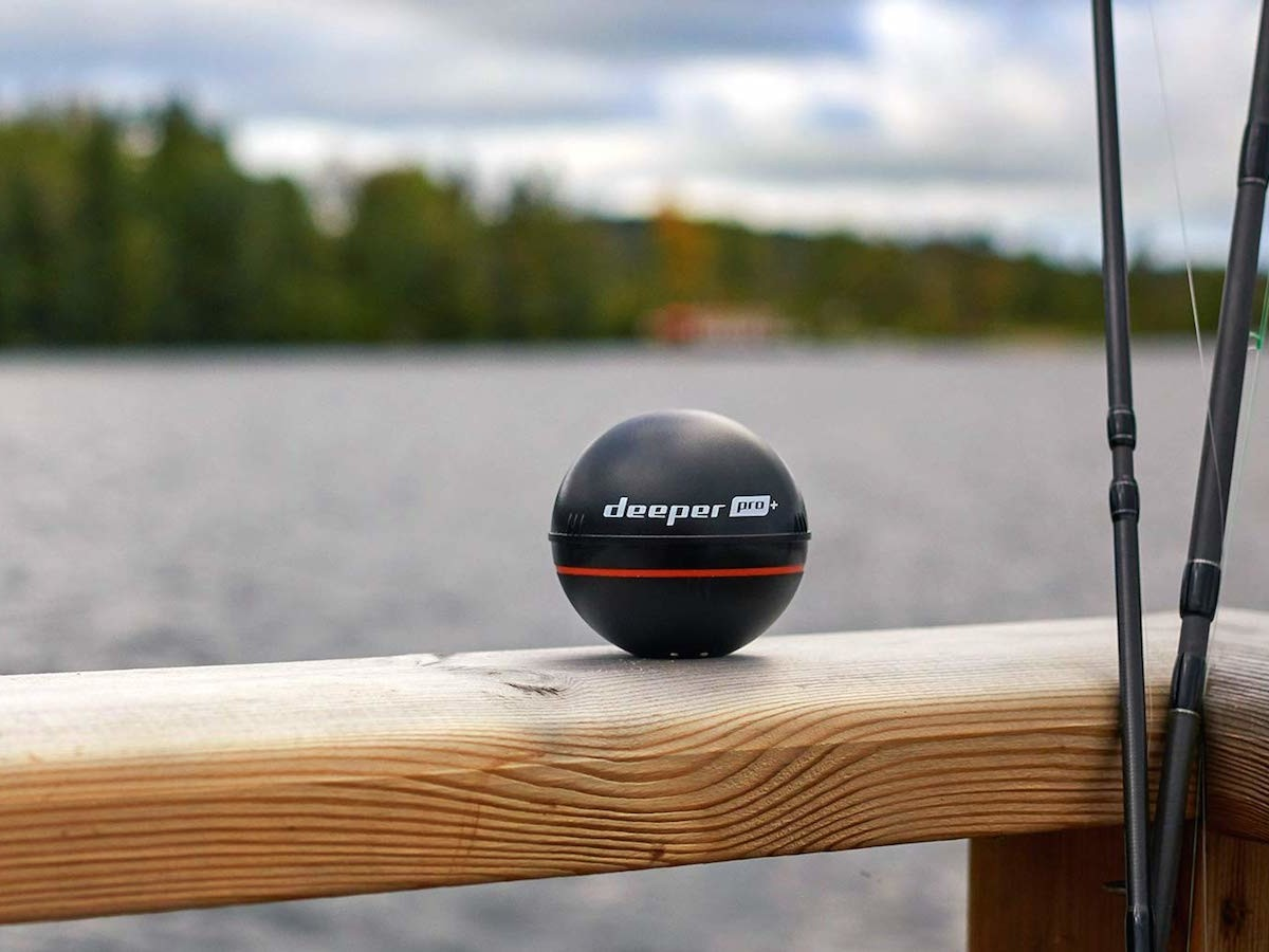 Deeper Smart Sonar PRO+ fish finder creates bathymetric maps from the shore
