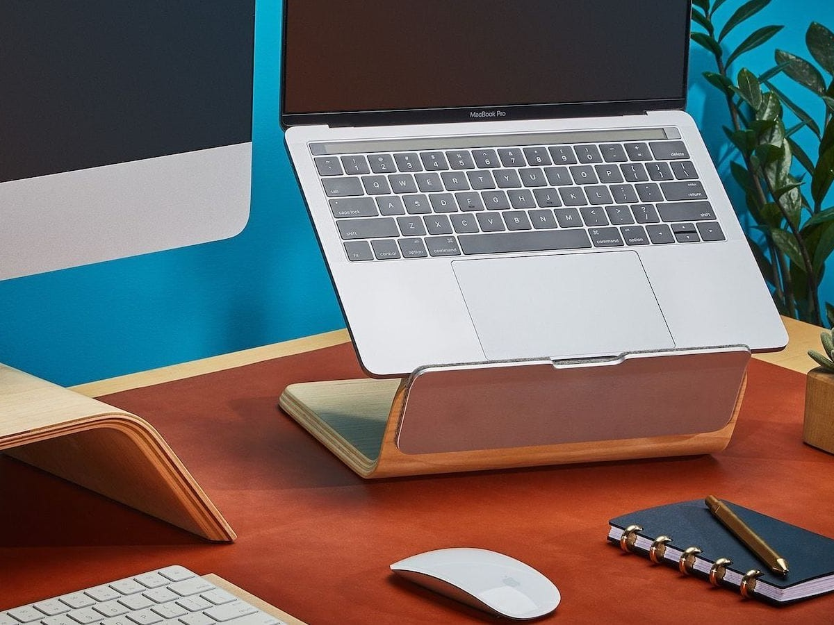 Grovemade Wood Laptop Riser lifts your display to an ergonomic height