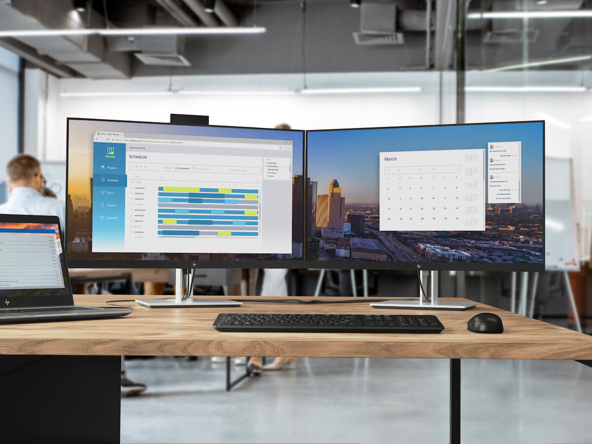 HP E-Series Monitors feature a curved screen, ergonomic setup, eye protection, and more