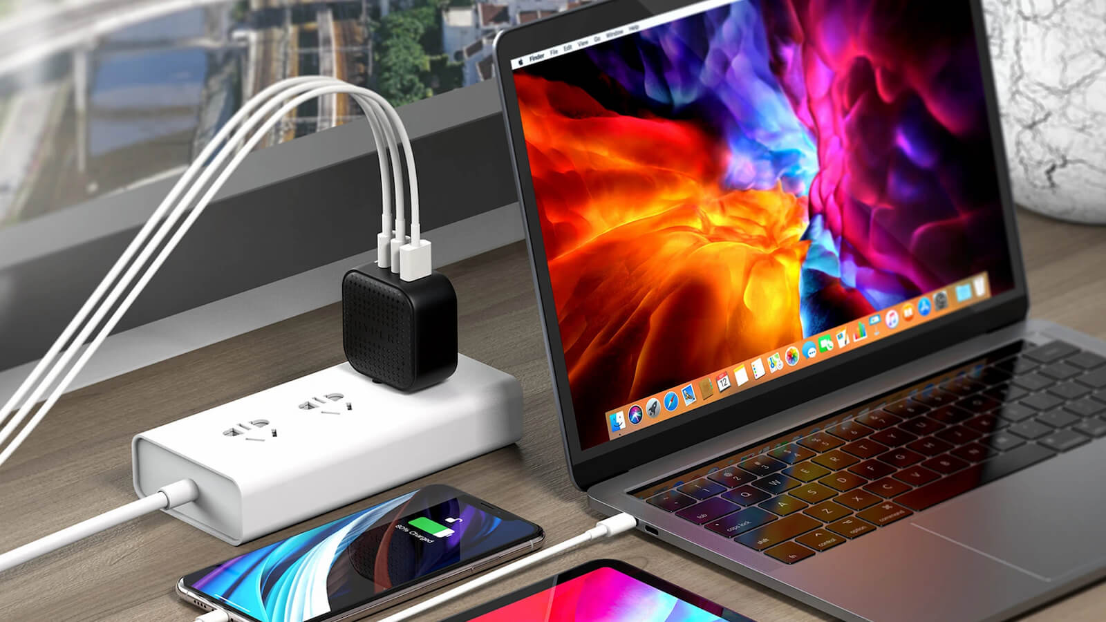 HyperJuice GaN 66W USB-C Small Charger features foldable plugs for organized use