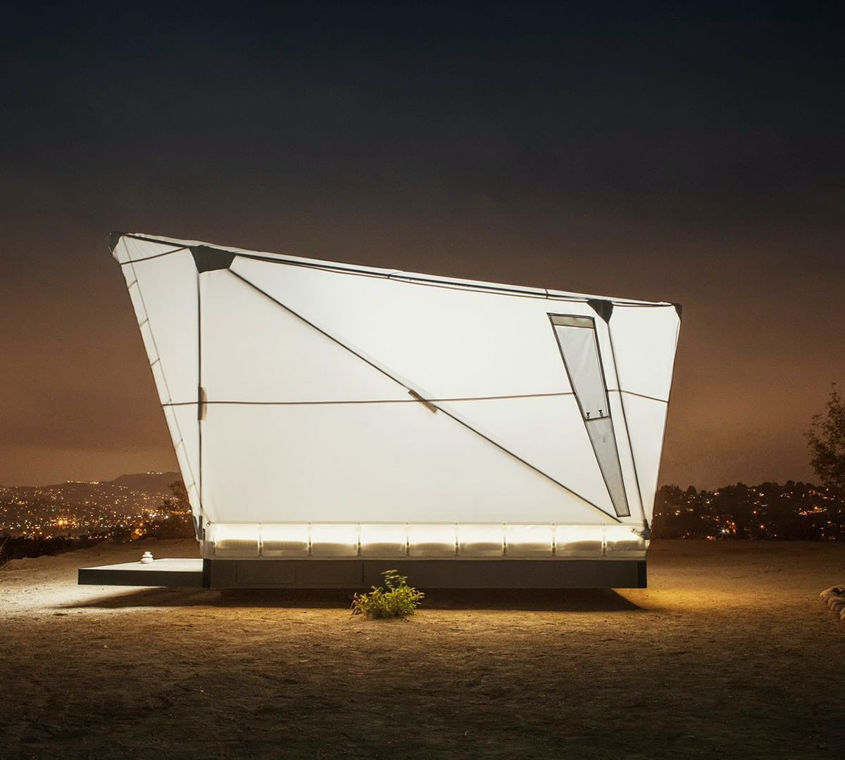 Jupe flat-packed shelter offers cosmos-inspired short-term stays