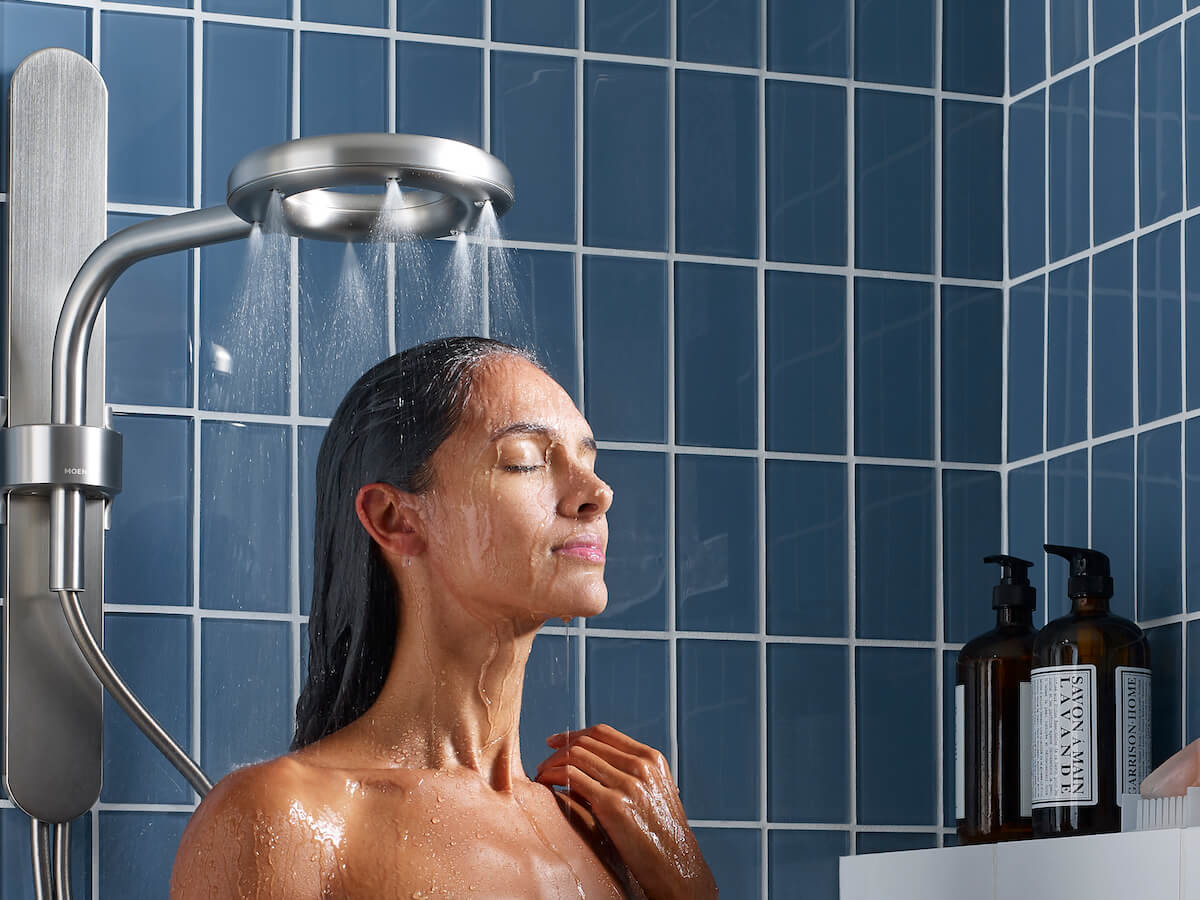Nebia by Moen adjustable shower head offers twice the water coverage of a standard shower