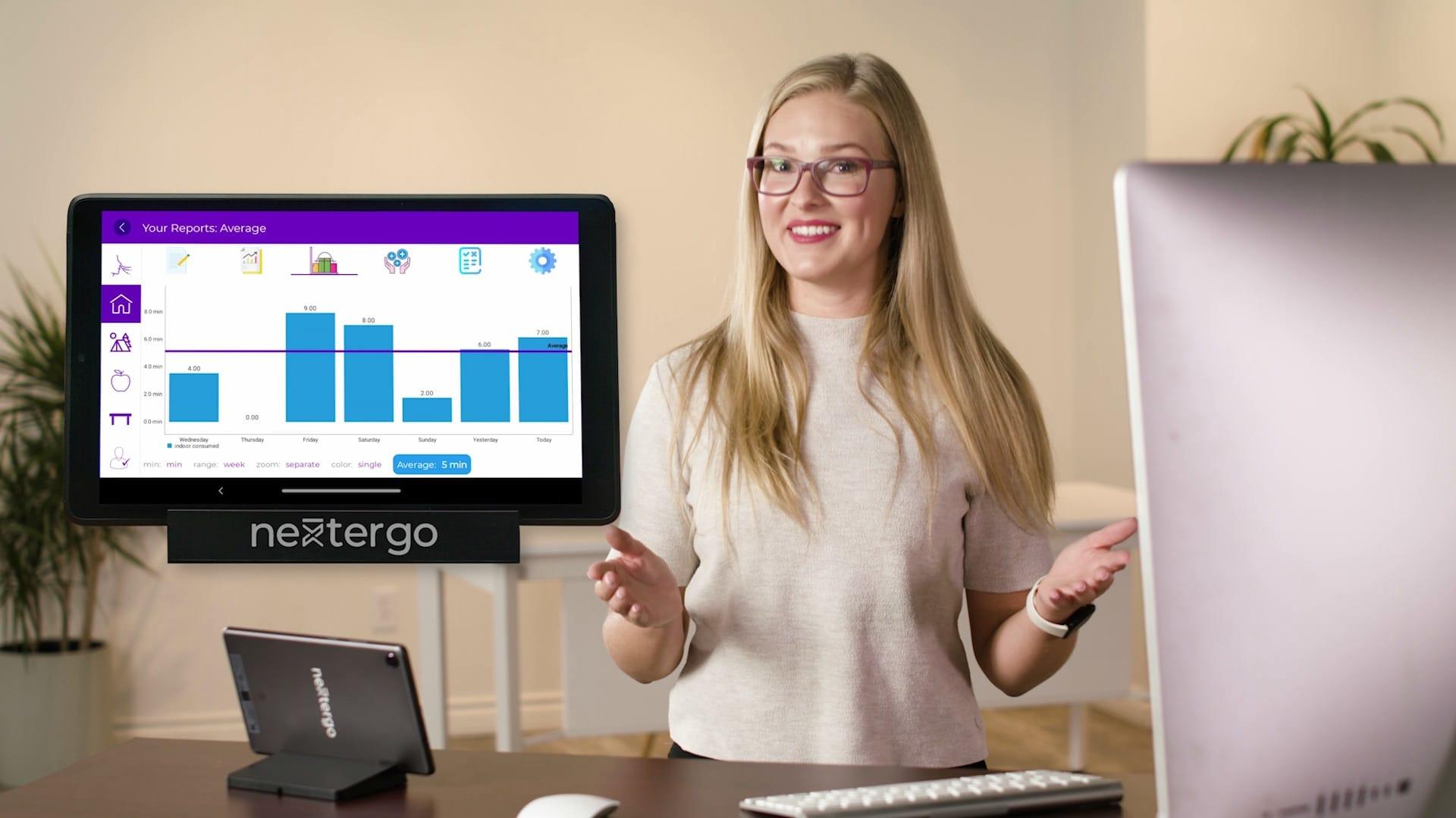 NextErgo AI smart standing desk has guided ergonomics and health & wellness benefits