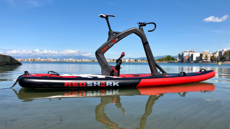 Red Shark Bikes Surf Fitness inflatable bike paddleboard lets you pedal on water