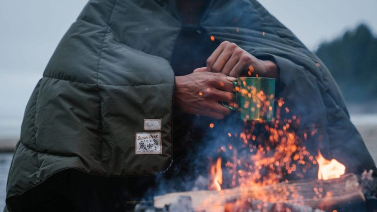 Rumpl & Snow Peak NanoLoft Takibi Fire-Resistant Blanket features 200 gsm of insulation