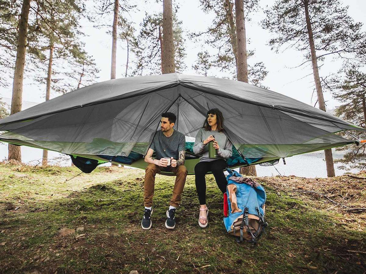 Tentsile Safari Vista (3.0) 3-in-1 convertible tree tent has 3 mesh floor storage nets