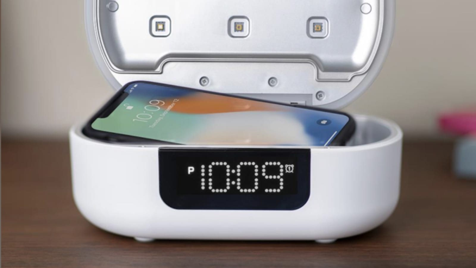 UV-C Sanitizing Alarm Clock has a built-in Bluetooth speaker