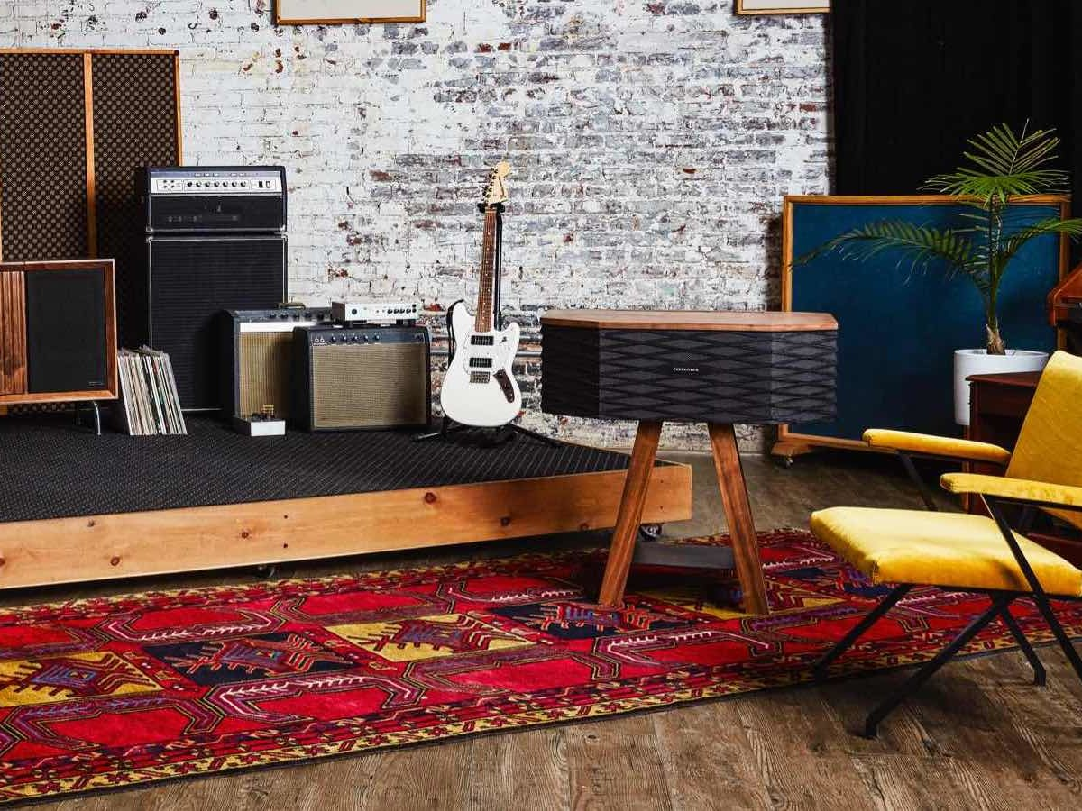 Wrensilva Loft wood record console works with Sonos speakers and can store 60 vinyl albums