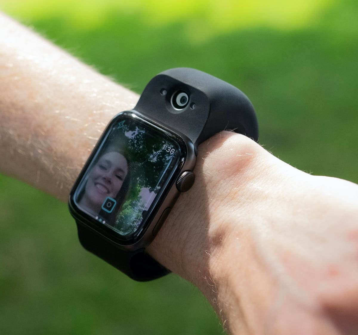 Wristcam wearable wrist camera attachment connects to an Apple Watch to take photos