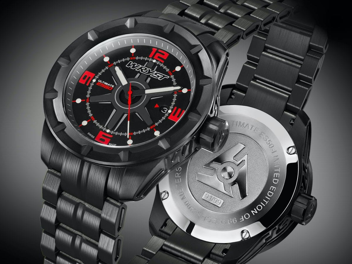 Wryst ES60 Ultimate black men's watch is made for extreme sports and water sports