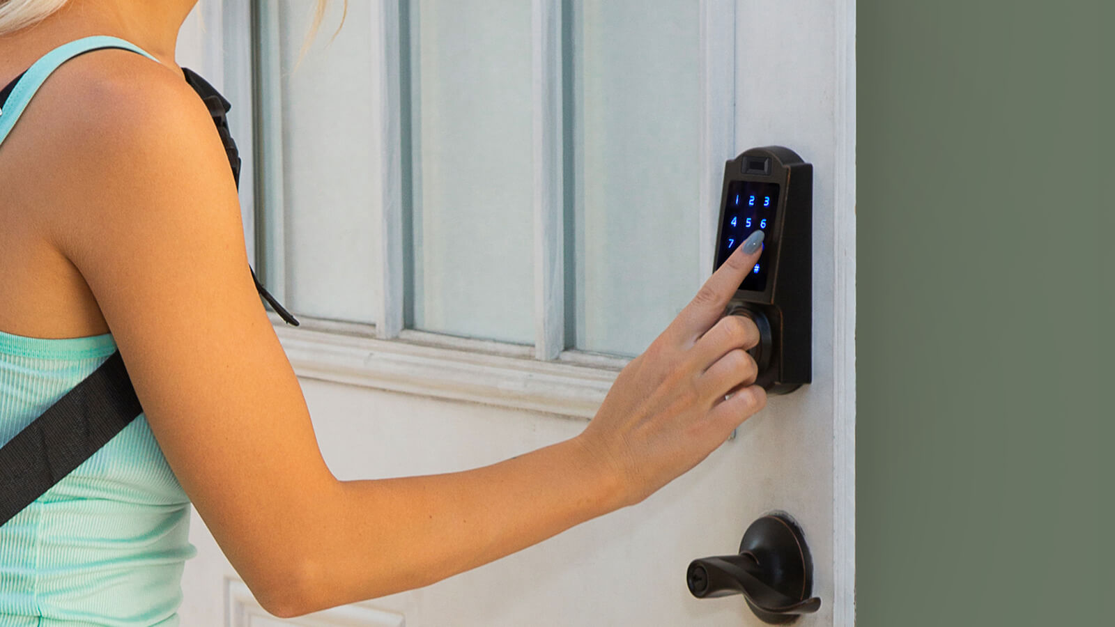 BenjiLock By Hampton keyless fingerprint entry stores 10 fingerprints and 25 user codes