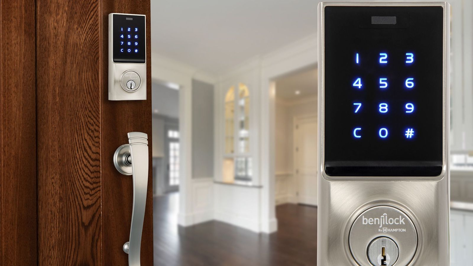 BenjiLock By Hampton keyless fingerprint entry stores 10 fingerprints and 25 user codes
