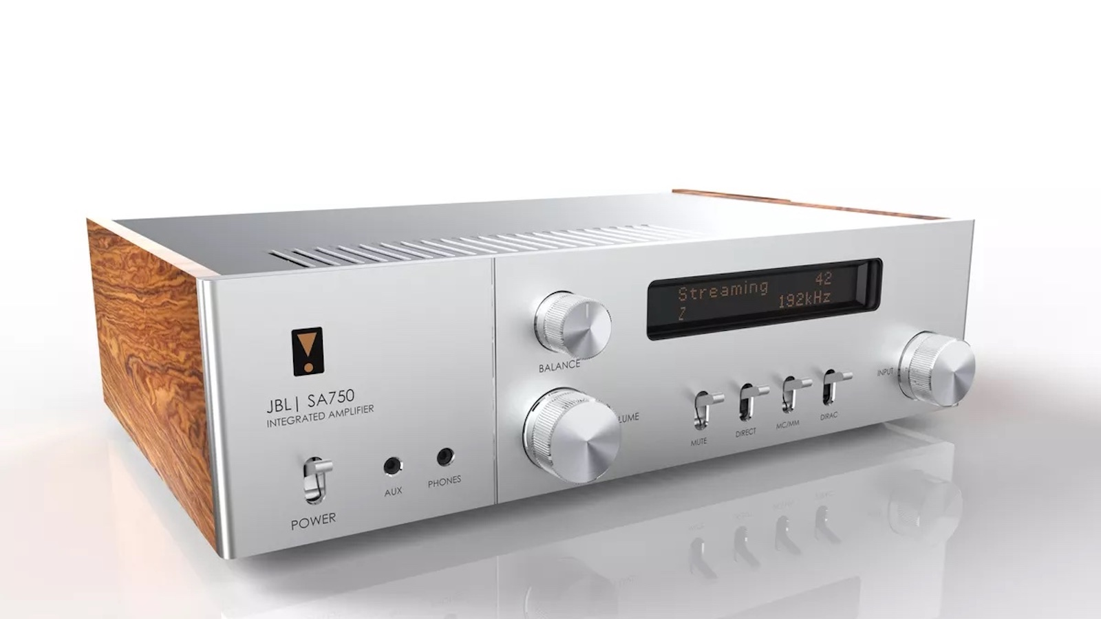 JBL SA750 Integrated Amplifier has a retro-inspired milled-aluminum face panel