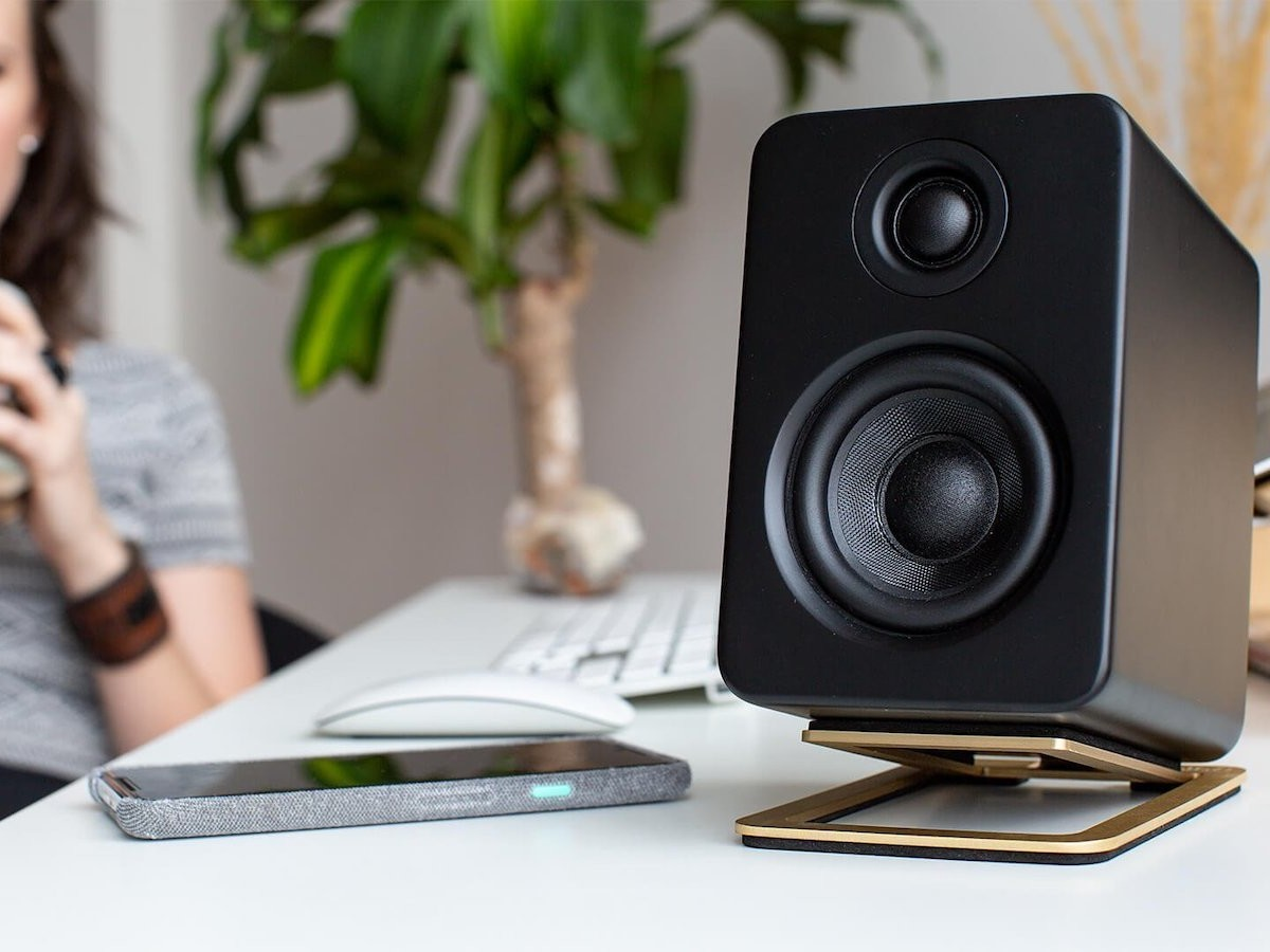 Kanto S2 desktop speaker stands provide 16º of vertical tilt for better sound delivery