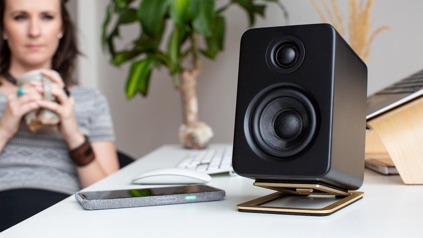 Kanto S2 desktop speaker stands provide 16 degrees of vertical tilt