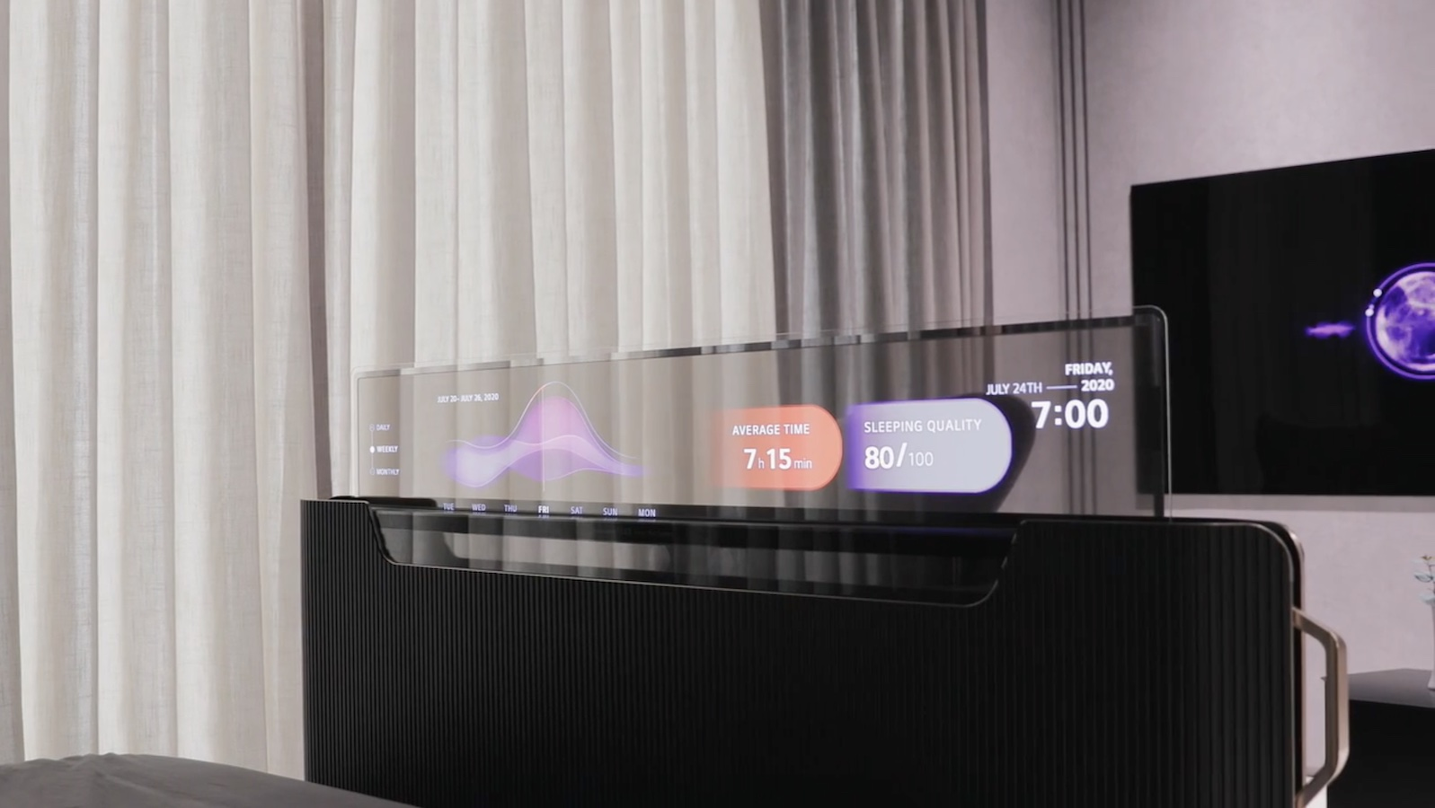 LG Display Transparent OLED TV concept rolls up from the foot of a bed