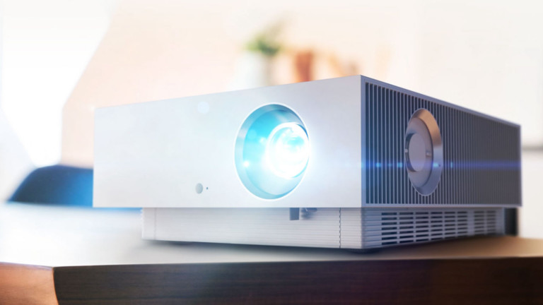 LG HU810P 4K UHD laser projector produces a display of up to 300 inches
