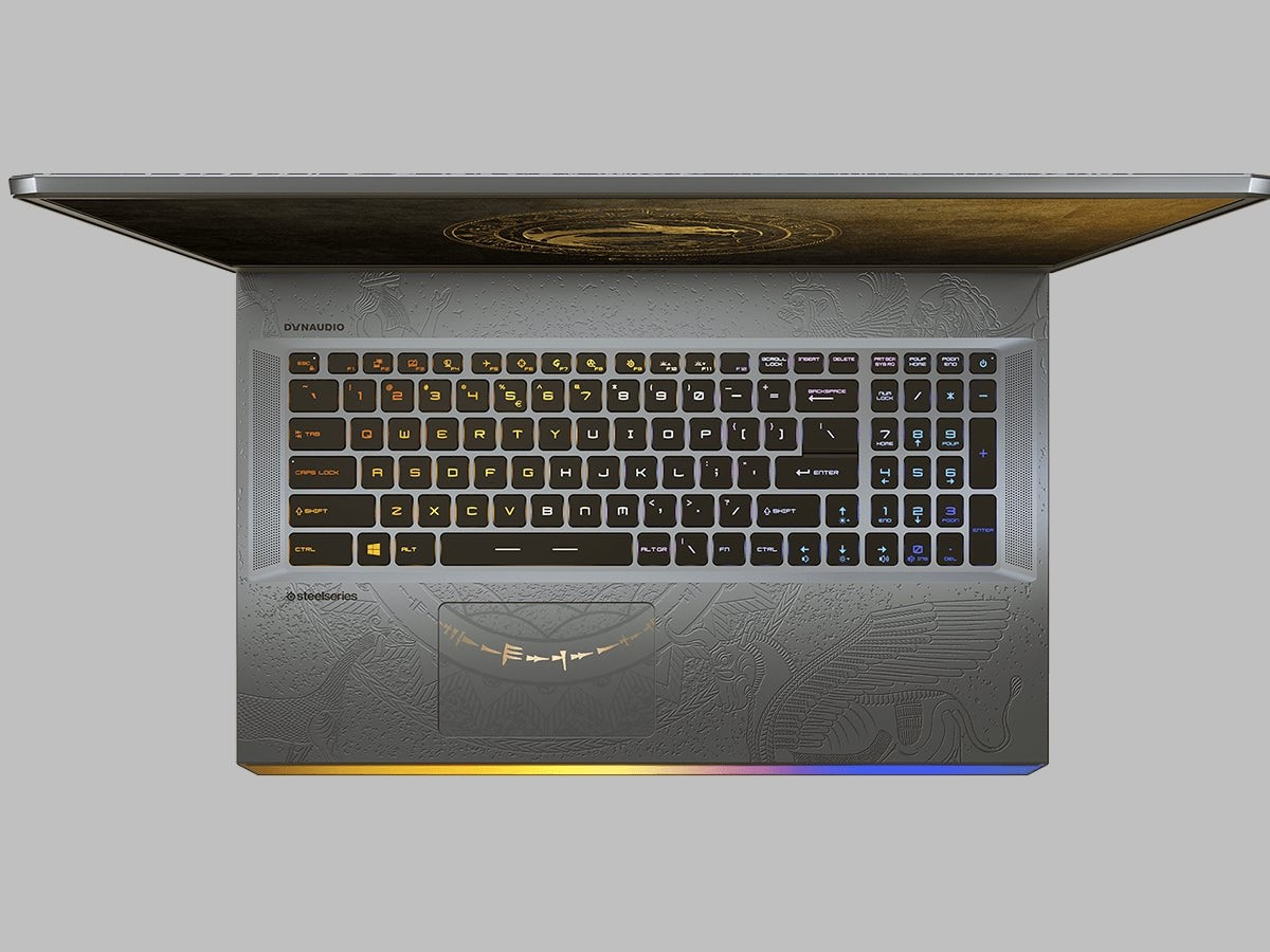 MSI GE76 Raider Dragon Edition Tiamat laptop has an engraved pattern in the lid