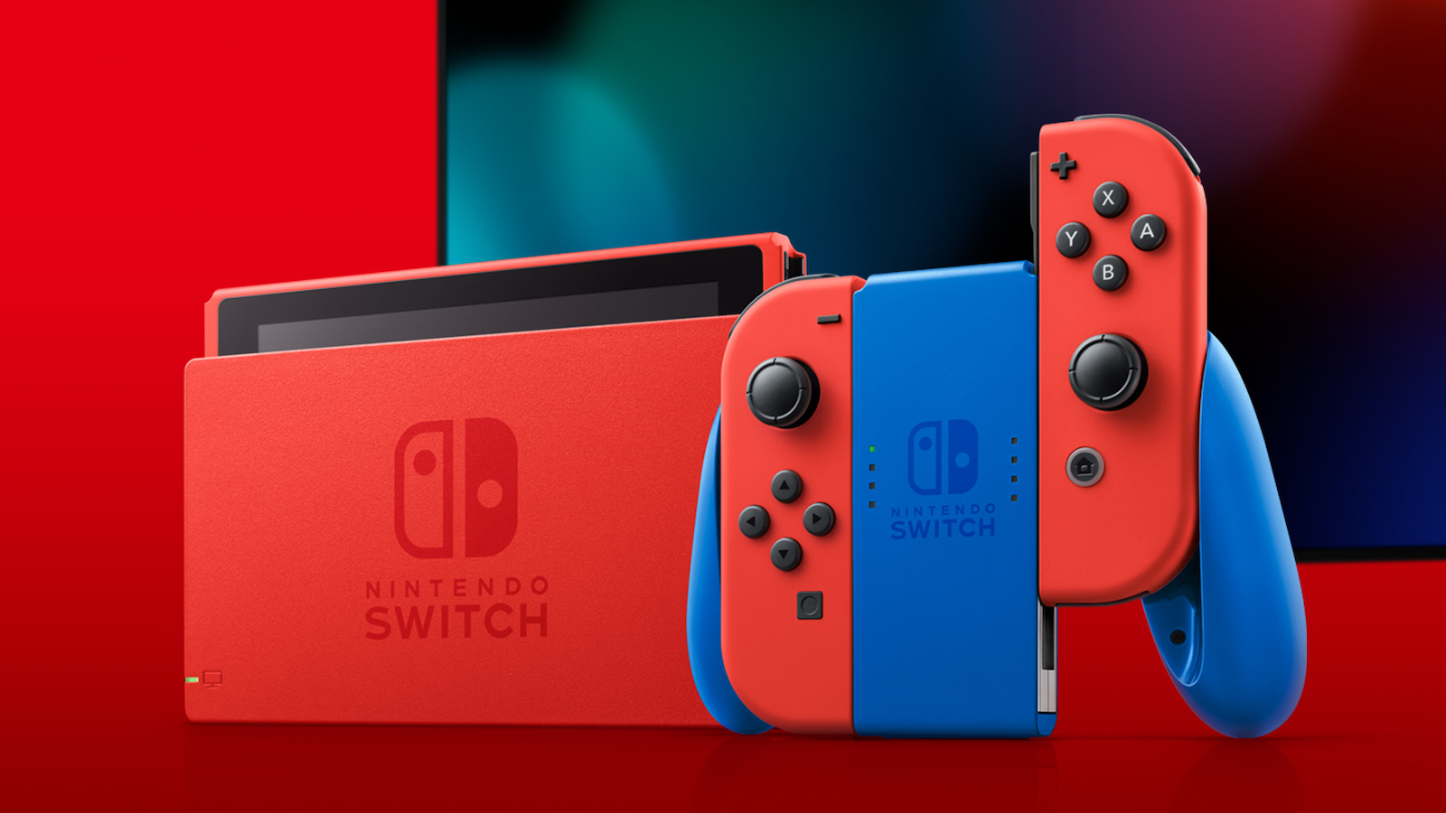 Nintendo Switch Mario Red & Blue Edition gaming console boasts a Mario-inspired look
