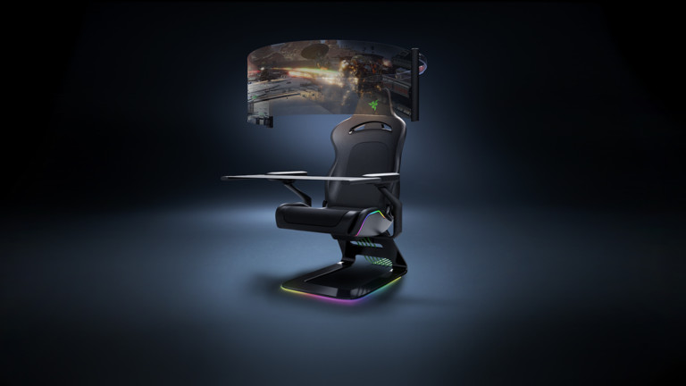 "Razer Project Brooklyn concept gaming chair comes with a 60"" rollout OLED display"