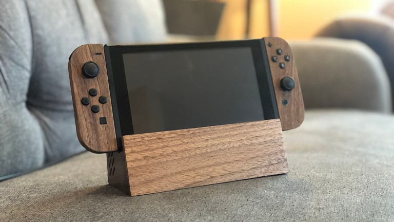 AlderedDesign Wood Nintendo Switch Dock Extender works in TV or portable mode