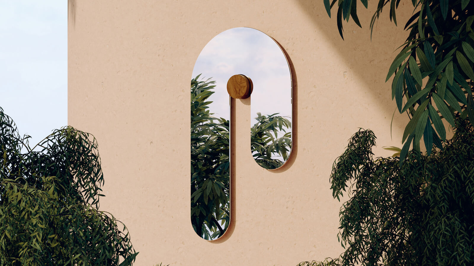 Bower Studios Melt Glass Mirror I features a unique, curved design