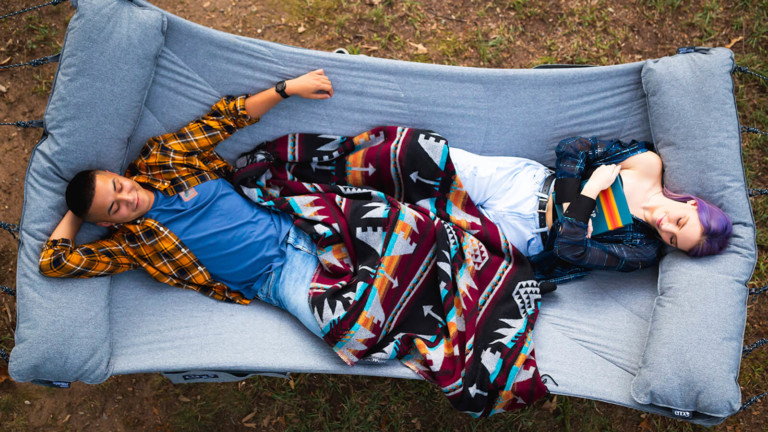 ENO SuperNest weather-resistant hammock can hold up to 400 lbs