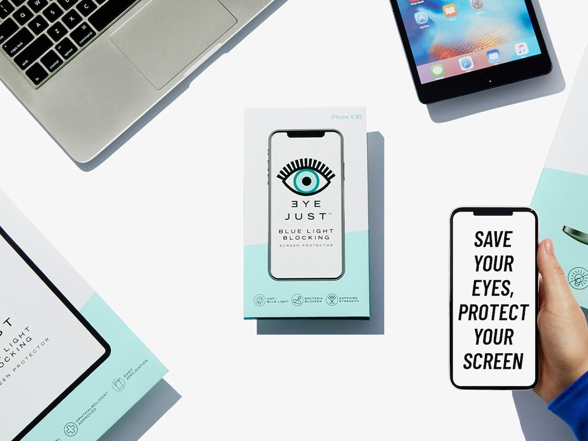 EyeJust Blue Light Blocking Screen Protectors help prevent eye strain
