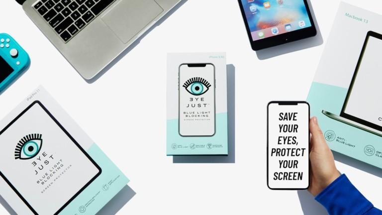 EyeJust Blue Light Blocking Screen Protectors help prevent eye strain