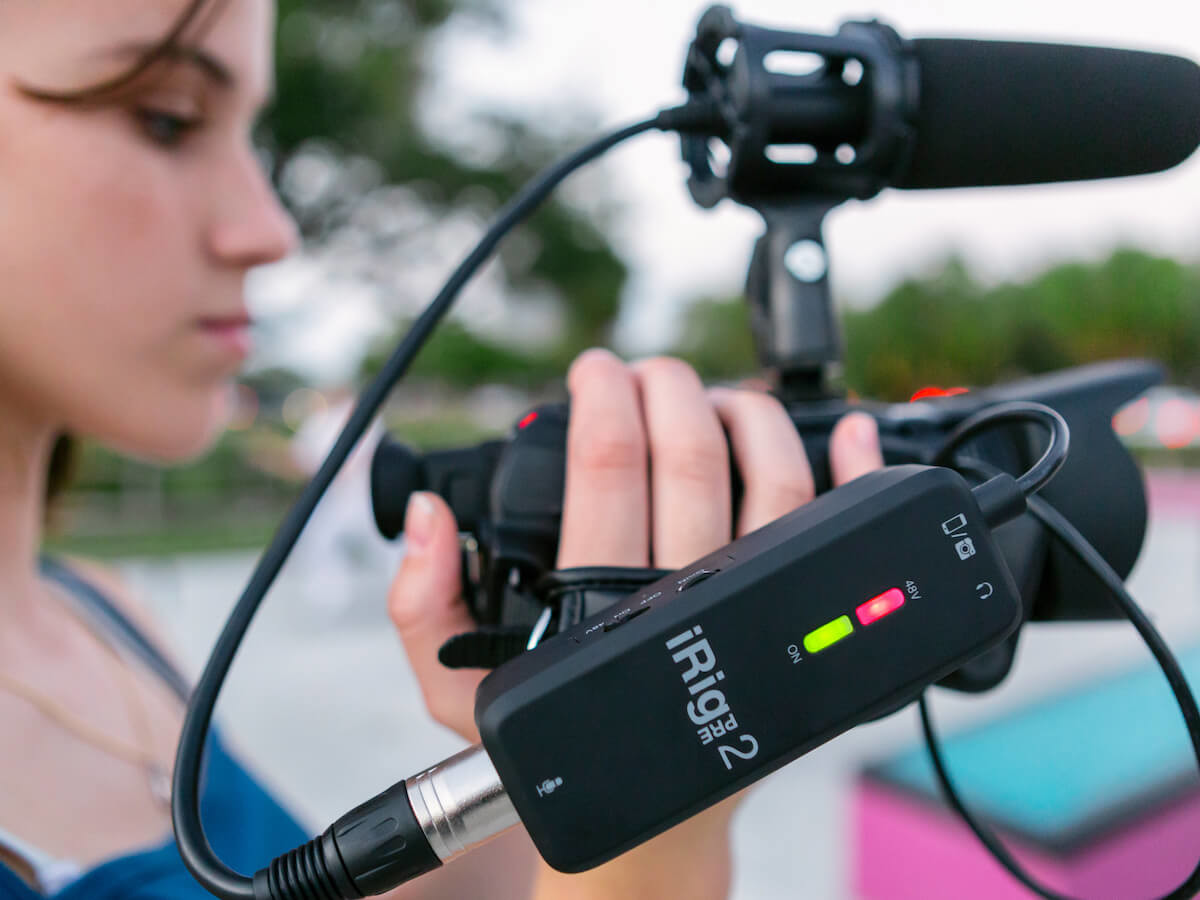 IK Multimedia iRig Pre 2 mobile microphone connects to your tablet, phone, or camera