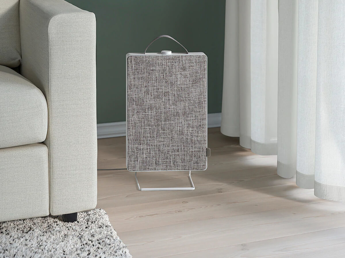 IKEA FÖRNUFTIG home air purifier can be hung on the wall or placed on the floor
