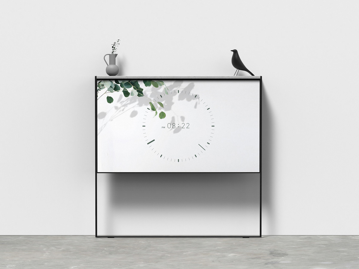 Joonhyuk Hong Rollean concept TV blends into your home with a useful shelf