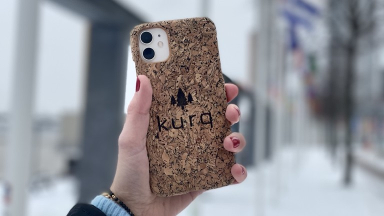 KURQ sustainable phone case is made from cork and recycled plastic