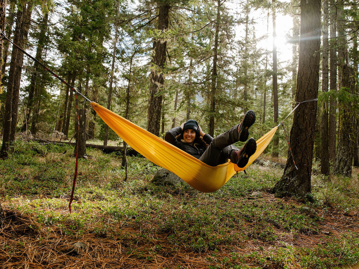 Kammok Roo Double camping hammock sleeps 1 person and easily attaches to trees
