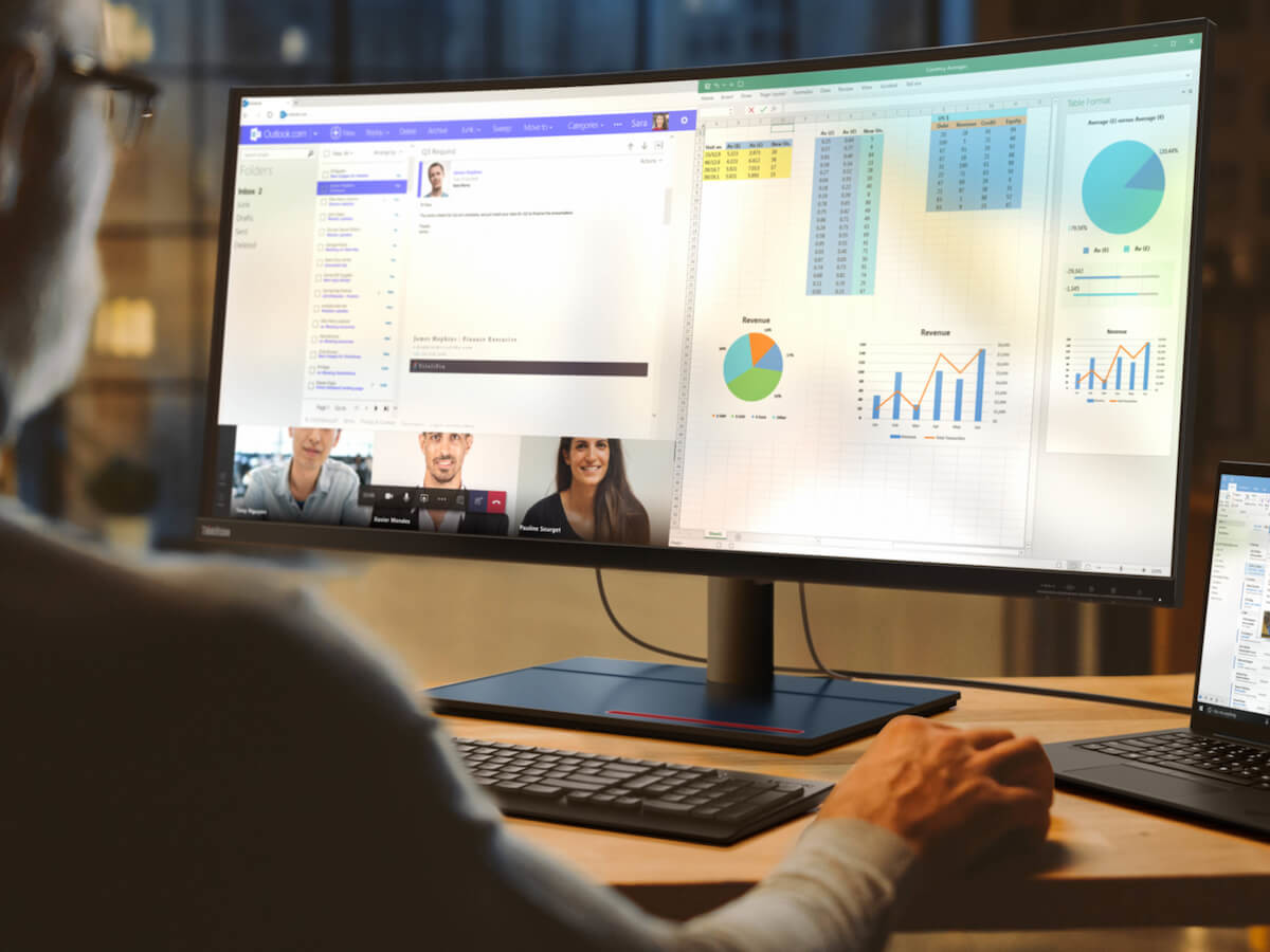 Lenovo ThinkVision P40w workspace monitor features 12 ports with two Thunderbolt 4 ports