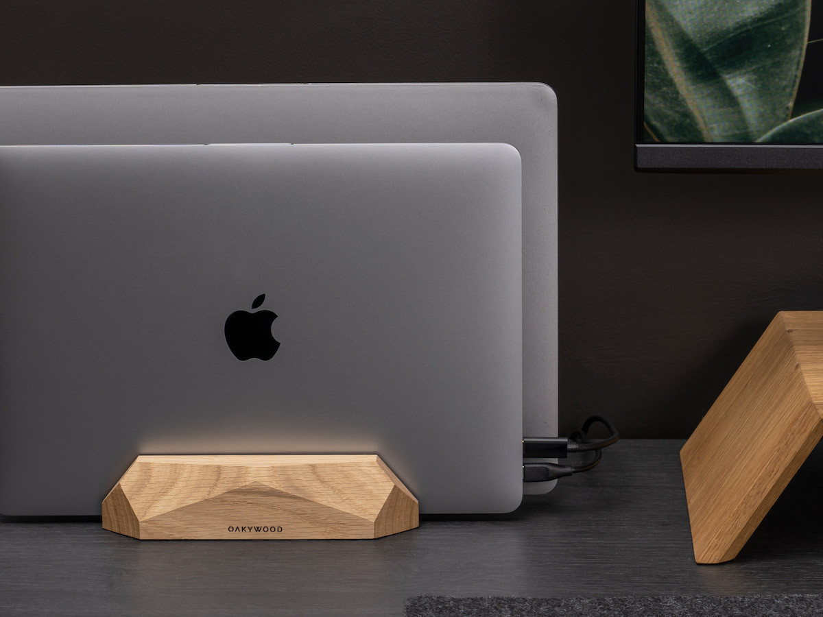 Oakywood Dual Vertical Wood Laptop Stand has two slots for tablets or laptops