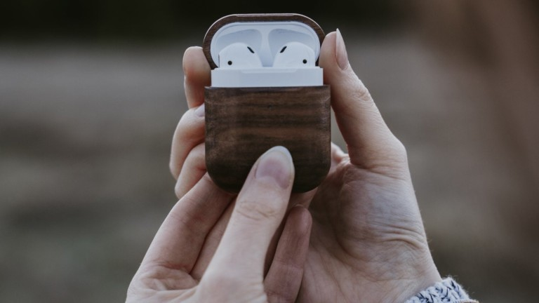 Oakywood Wooden AirPods Case protects your earbuds against drops and falls
