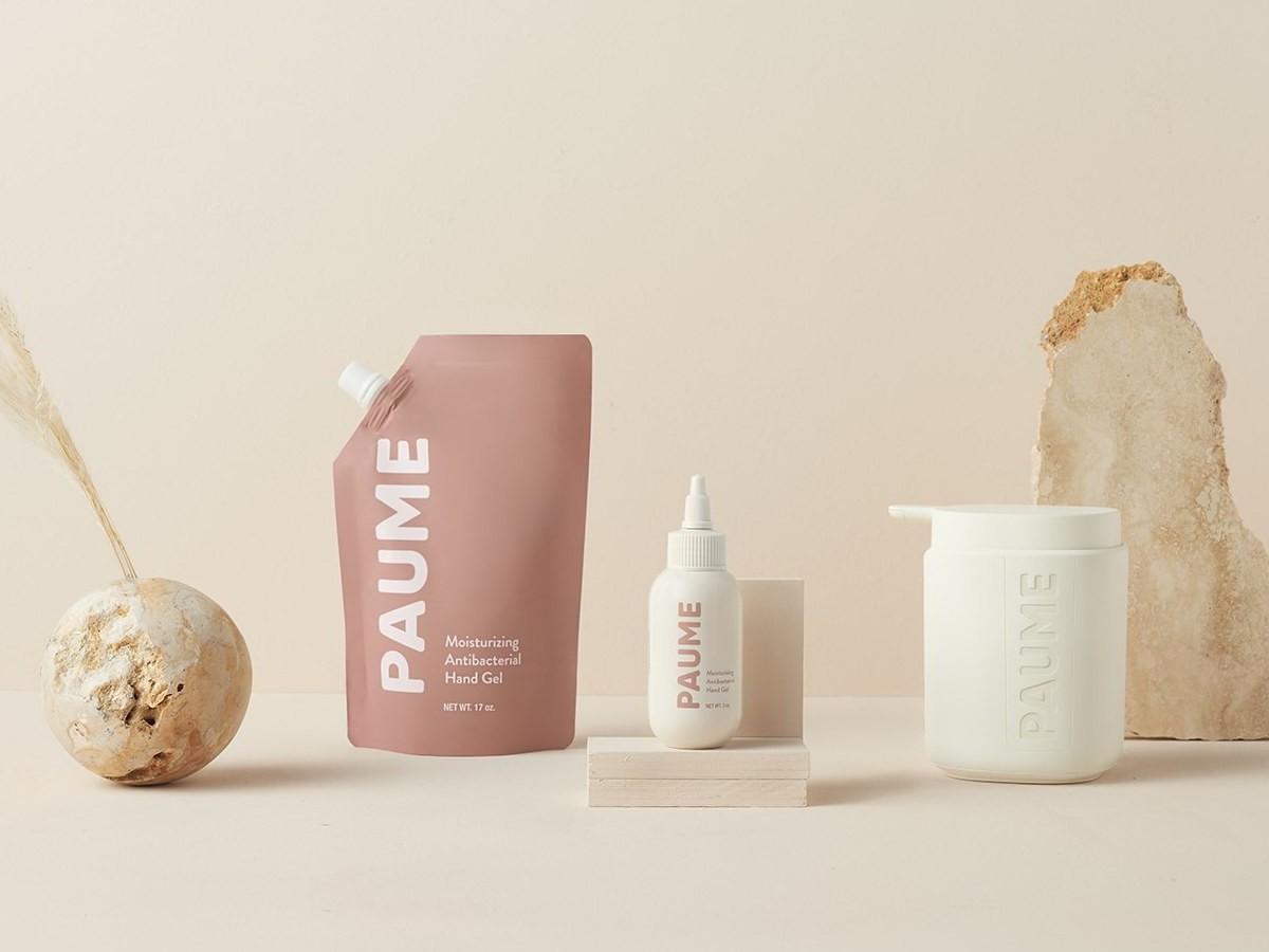 PAUME Antibacterial Vegan Hand Sanitizer features refillable dispensers and kills 99.9% of bacteria