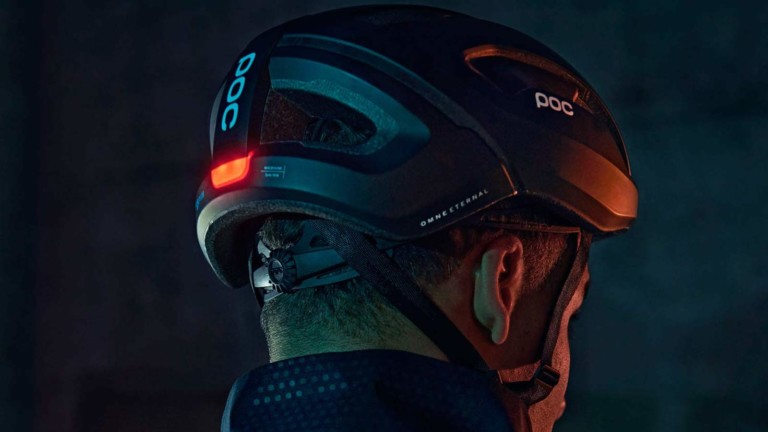 POC Omne Eternal bike safety helmet features a self-powered light