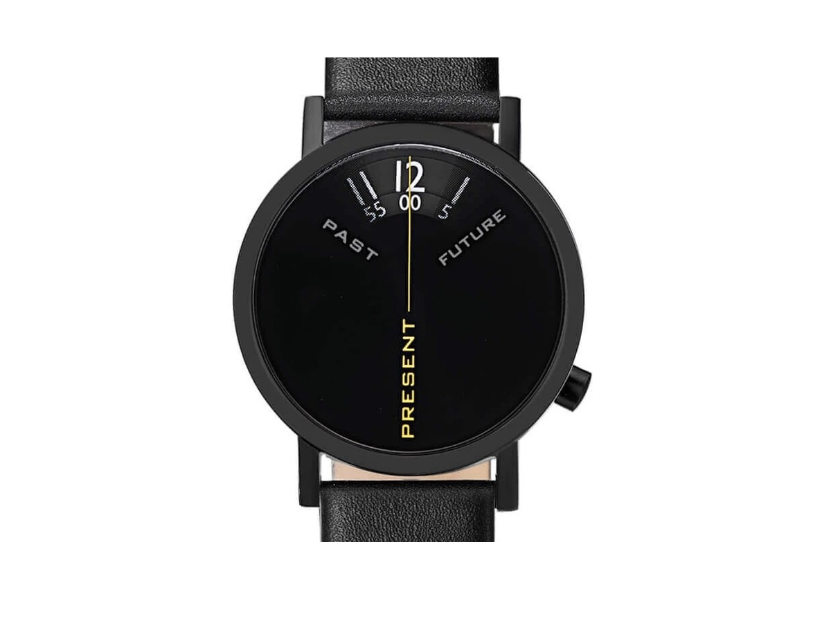 Projects Watches Past, Present, and Future Black 40 mm watch reminds you to be present