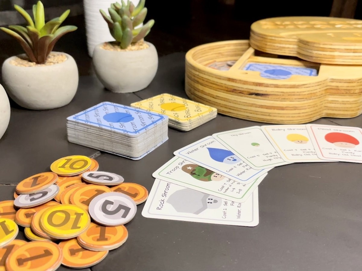 Shroom Shroom family-friendly card game teaches you how to manage money wisely
