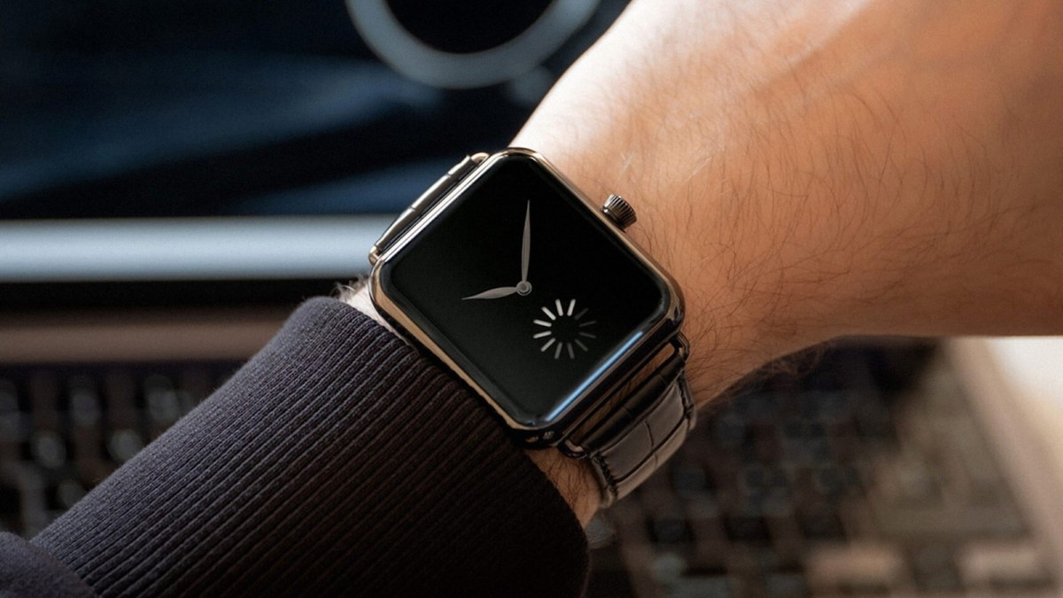 This $30,800 watch mimics the Apple Watch with a mechanical loading wheel