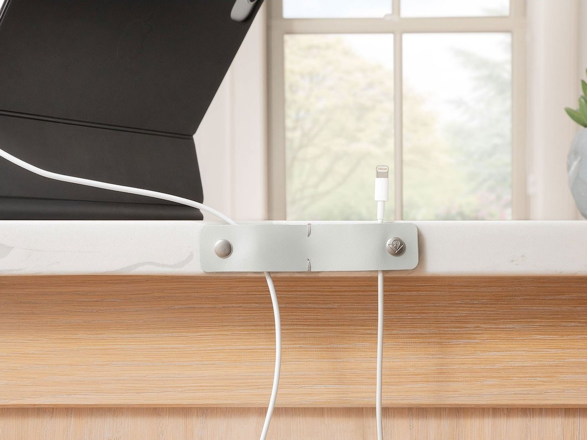 Twelve South SurfaceSnap leather cable tidy keeps charging cords stable and organized