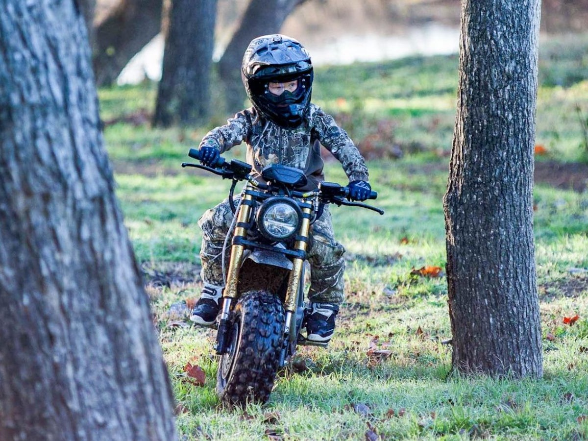 Volcon Runt kids' electric trail motorcycle has a 35-mile range and speed of up to 35 mph