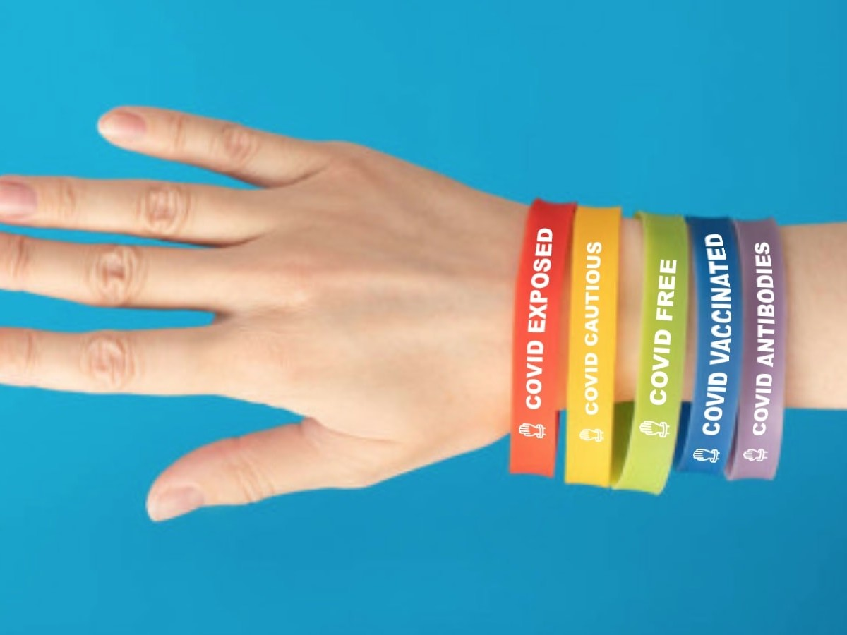 Band Covid social safety bracelets are color-coded to make your COVID-19 status clear